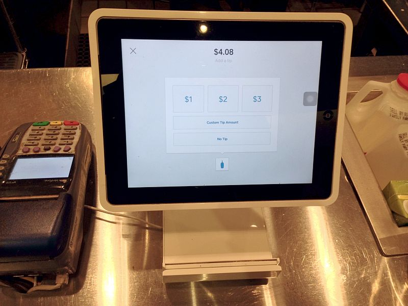 A Square Stand POS at a coffee shop