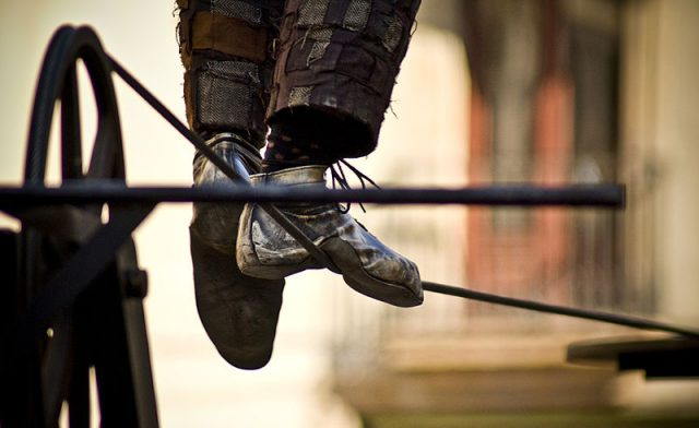 The feet of a tightrope walker. Visa is expanding its categories of high-brand risk merchants.