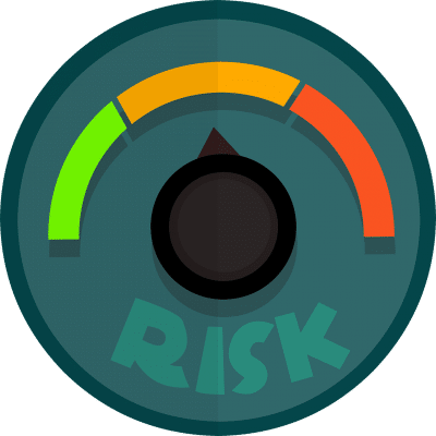 Graphic of a risk dial, the needles is pointing at the middle risk level. This is a representation of a high-risk merchant account.