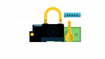 Illustration of a lock, key, and credit cards. Shows how you can reduce chargebacks with new technology like CB-ALERT.