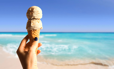 A double-scoop of ice cream with the ocean as a backdrop. It's a metaphor for chargeback double-dipping, only less sweet.